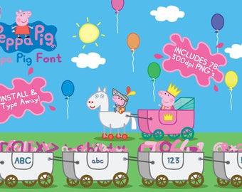 Peppa Pig font, Peppa Pig PNG, Peppa Pig Clipart, Peppa Pig True Type Font