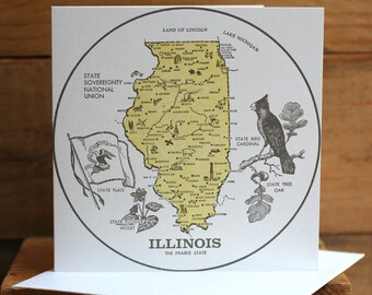 Vintage Illinois square letterpress card