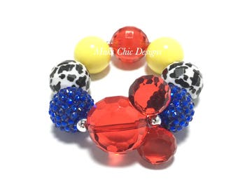 Toddler or Girls Blue, Red, Yellow and Cow print Mouse Chunky bracelet - Cowgirl Bracelet - Farm girl Bracelet - Cowgirl birthday bracelet