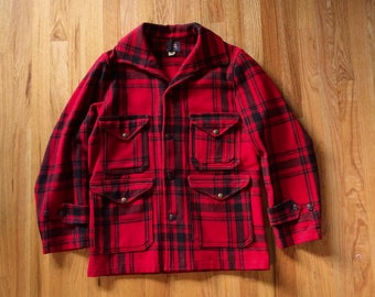 Vintage 1940's WOOLRICH Hunting Coat Jacket with game pocket, red & black plaid wool, size 38, small or medium
