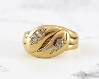 Victorian Snake Ring, Antique 18k Yellow Gold & Diamond Double Snake Ring, Ouroboros Ring, Bohemian Alternative Engagement Wedding Band