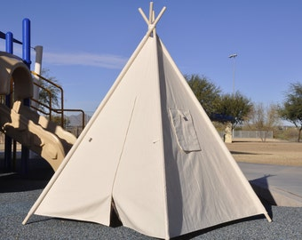Zipped Natural Canvas Plain Kids Teepee, Kids Play Tent, Childrens Play House, Tipi,Kids Room Decor