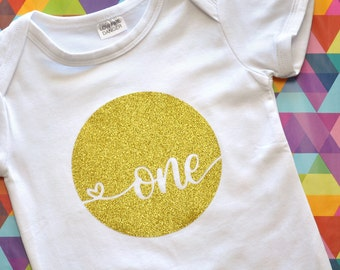 First Birthday Outfit Girl - Baby Girl Romper - One Outfit - Cake Smash Outfit Girl - Photo Props - 1st Birthday - Gold Glitter Cake Smash