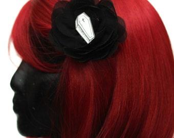 Coffin & Black Chiffon Rose Hair Flower Clip