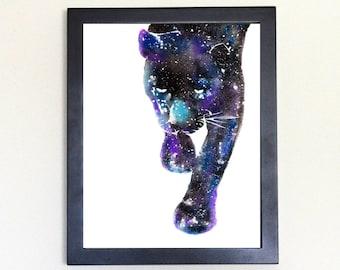 Black Panther Art Print, Galaxy Spirit Animal Totem Guide Watercolor 8x10