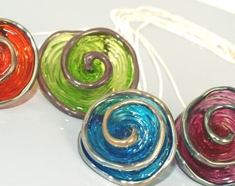 Pearly Spiral Pendant Necklace - Lampwork Jewelry - Lampwork Necklace - Glass Bead Jewelry - Glass Bead Necklace - Contemporary Jewelry