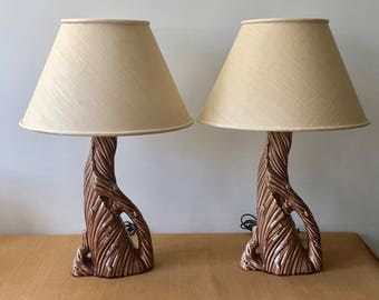 Vintage Pair of Brown Ceramic Driftwood Table Lamps