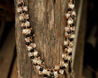 beaded necklace Rhinestone Necklace gold jewelry statement necklace Gypsy necklace Boho jewelry Boho necklace Rhinestone Jewelry gold neckla