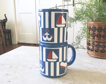Vintage Waechtersbach Nautical Mugs / W. Germany / Beach House