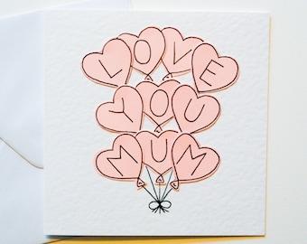 Greeting card for mum mum birthday card mothering sunday handmade greeting card for mum love you mum pink balloons card birthday card for m4hsunfo