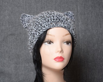 gray cat hat black white crochet beanie wool hat warm accessories gift for her mens hat gift for him