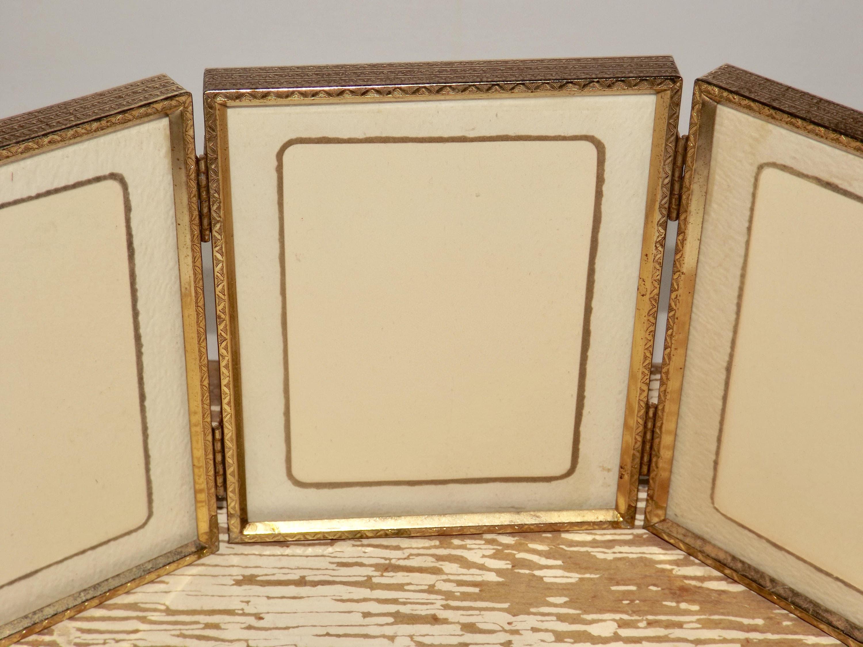 Gold tone 3 fold picture frame,brass folding frame,4x5 photo frame ...