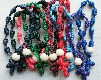Rosary Bracelets - solid color twine knotted