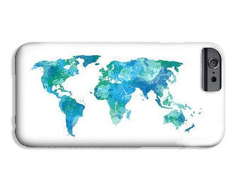 Map of the World Phone Case iPhone 8 Plus Case Hipster Phone Case - Galaxy S8 Phone Case Gifts for Travelers Map Gifts Boho Phone Case