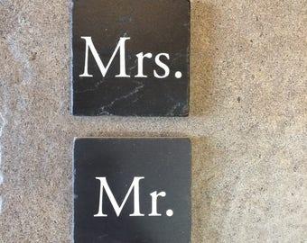 Mr and Mrs Travertine Stone Coaster