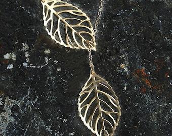 Gold Leaf Necklace, Two Leaf Necklace, Lariat Leaf Necklace, Botanic Jewelry, Wedding Necklace, Bridesmaids Gift, Gold filled