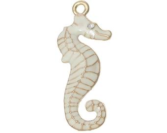 x 1 Starfish seahorse gold and ivory enamel, rhinestone horse pendant.