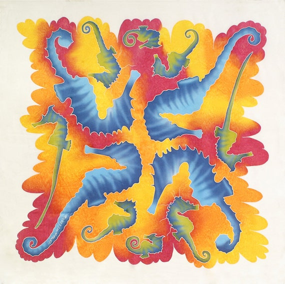 Seahorse colorful square hand painted silk scarf. Unique gift