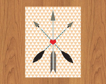 Arrows Triangles Hearts Black Grey Red Peach Nursery Bedroom Home Wall Art 11X14 Matte Finish Print (175)