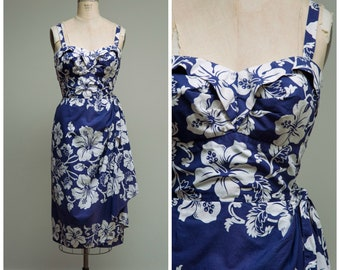 Vintage 1950s Dress • Blue Hawaii • Tropical Hawaiian Print Cotton 50s Sarong Dress by Royal Hawaiian Size Medium