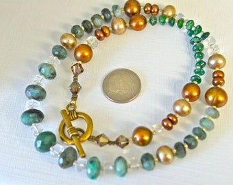 Emerald Necklace with Chocolate Freshwater Pearls, Aventurine, Quartz Crystal and Brass Findings Handmade in Maine by Kimberly