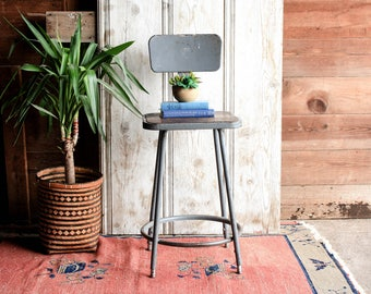 Superior Vintage Industrial Stool, Metal Stool, Factory Stool, Industrial Bar Stool  With Back,