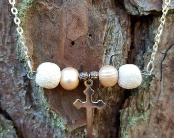 Pink Freshwater Pearls and Cross Essential Oil Diffuser Necklace