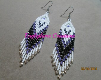 Lilac Native American beaded earrings with fringe