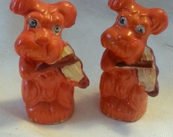 Orange Musical Terrier Salt and Pepper Shakers Made in Japan-vintage.