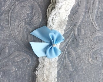 Toss Garter - Lace Garter with Bow and Swarovski Pearl - Custom Colors Available