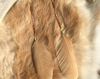 Desert Rose Feather Earrings