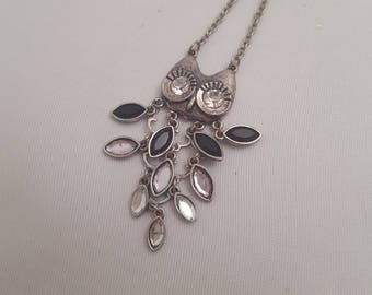 Owl pendant necklace Sterling silver 1960s-1970s