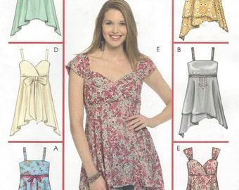 Plus Size Womens Tops or Tunics Empire Waist Handkerchief Hem OOP McCalls Sewing Pattern M5116 Size 18 20 22 24 Bust 40 42 44 46 UnCut