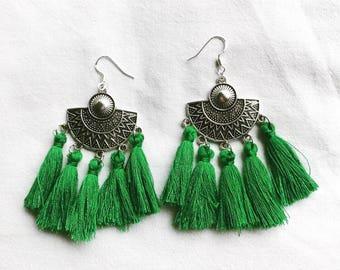 Ethnic earrings green AGATHE 05