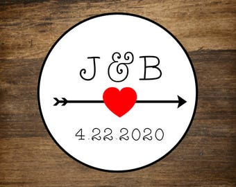 "Wedding stickers, set of 63 personalized favor labels, 1"" round stickers, custom initials with arrow, wedding, shower, party favor stickers"