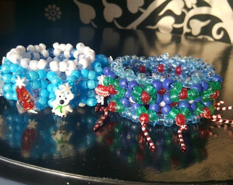 Holiday kandi cuffs