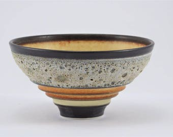 Orange/Yellow bowl with Red Iron Oxide Glaze and Volcanic Section