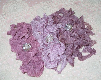 15 yards of Pretty Ribbons-FLORAL ODE-Seam Binding-Crinkled-ATC-Supplies