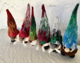 Tomten Santa Gnome, Needle Felted Wool
