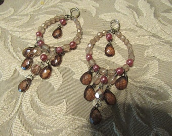 Brown Pink and Clear Acrylic Drop Dangle  Faceted Earrings