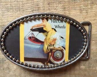 HELL ON WHEELS Pin-Up Pin Up Burlesque Rockabilly Girl Belt Buckle w/ Silver Bead Detail. Handmade w/ metal buckle and one-of-a-kind!!!
