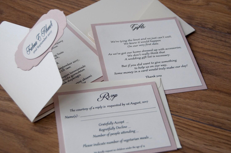 Simple Pocketfold Wedding Invitation with Vintage Tag