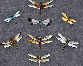 Dragonfly Magnets Insects Set of 8  Refrigerator Magnets Handmade Kitchen Magnets