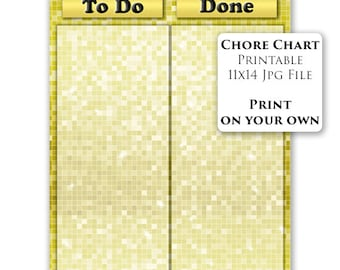 Printable To Do List Kids Task Chart Chore Chart Reward Chart PRINTABLE To Do List Done List Gold DIY 11x14 Instant Download(1)