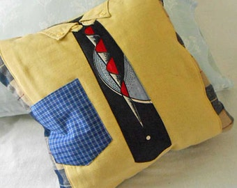 """Preppy Guy NECKTIE & SHIRT PILLOW Cover, Tailored Gold Button Down Front Geo Tie, Black Plaid Wool, Handmade Memory 16"""" sq, Ooak Fathers Day"""