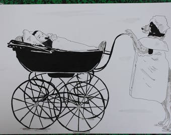 """painting """"dog and pram"""" unusual ink drawing A3"""
