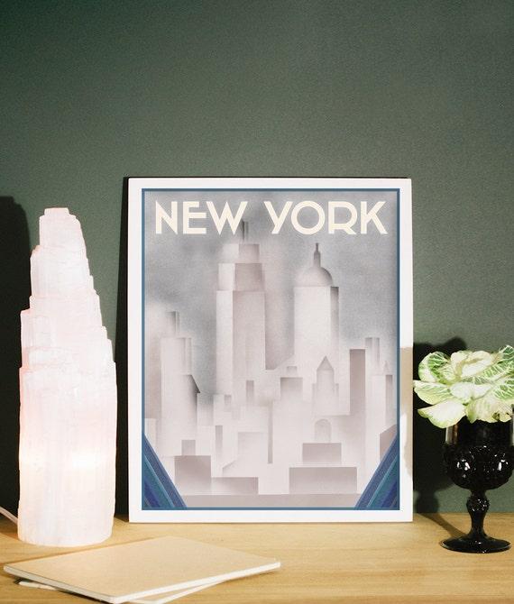 New York Print Art Deco Style New York Deco Poster