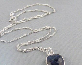 Blue Sapphire,Necklace,Silver Necklace,Sapphire,Necklace,Blue,Blue Sapphire Necklace,Necklace,Leaf,Navy Blue,Sapphire,,Sea Maiden Jewelry