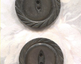 Set of 4 Vintage Carved Mother of Pearl Buttosn- ( 7/8 inch) -Item# 210