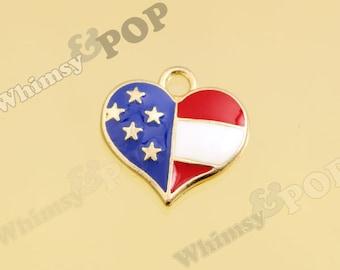 1 - Gold Tone Patriotic Heart American Flag Pendant Charm, USA Charm, Heart Charm, 17mm (2-6C)